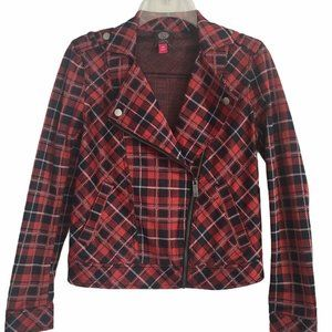 Vince Camuto Womens Red Plaid Stretch Knit Jacket